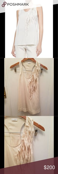 Brunello. Cucinelli. Cream color blouse size large Used but in good condition as pictures show  61 %silk sleeves blouse with scoop neck fringe accent in front Brunello Cucinelli Tops Blouses