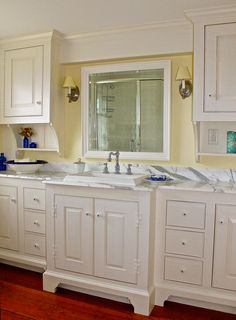 New England Style Guest Bathroom Marble Topped Vaniety