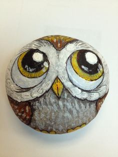 Owl Painted Rock by artist Daniel Langhans. www.TiltedEarthStudios.com and https://www.facebook.com/artbrains