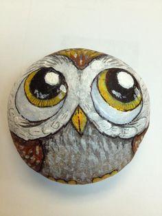 Owl Painted Rock by artist Daniel Langhans. www.TiltedEarthStudios.com and https://www.facebook.com/artbrains