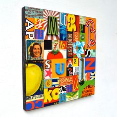 mmm modge podge graphic art/photos with wood/foam letters? Purchase the canvas from Goodwill and paint over!