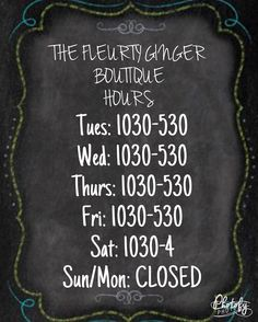 Reminder of our hours! Be sure we fit in your schedule ASAP  . . 200 Bell Lane WM 318.884.7467 #thefleurtygingerboutique #northlouisianasplussizeheadquarters #shoplocal #shoptfgb #trendyclothes #trendsetter #dontmissout #musthaves #falliscoming @thefleurtygingerboutique
