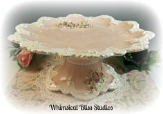 Whimsical Bliss Studios - Lucy's Pedestal Plate in pink