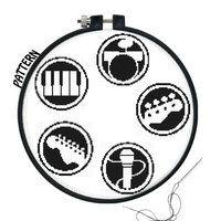 Rock Band Logos Cross stitch pattern by ~JuliefooDesigns on deviantART