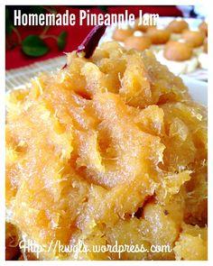Quick and Easy 30 minutes Homemade Pineapple Jam 分钟简易凤梨酱) - Guai Shu Shu Jam Recipes, Fruit Recipes, Cookie Recipes, Dessert Recipes, Cooked Pineapple, Pineapple Jam, Pineapple Tart Filling Recipe, Flan, Jam Tarts