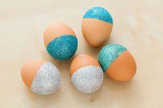 glitter dipped easter eggs