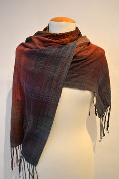 """This handwoven beauty measures 15"""" wide x 75"""" long (including fringe). This is scarf is made of 95% silk and 5% mohair and silk elastic. Care instructions: hand wash, hang to dry, steam press lightly or dry clean.Colours may vary depending on your monitor.Please review our shop policies on our website before placing your order.Made by Diana Sanderson in Vancouver, Canada.Item"""