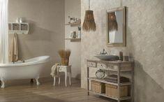 Lekko wypukłe sześciokąty do układania jak patchwork - płytki ceramiczne Tommete firmy Peronda. Fot. Peronda. Clawfoot Bathtub, Wall Tiles, Double Vanity, Cement, Tile Floor, Flooring, Design, Bathrooms, Urban