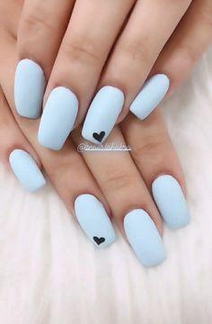 Blue Matte Nails, Blue Acrylic Nails, Simple Acrylic Nails, Acrylic Nail Designs, Nail Art Designs, Nails Design, Shellac Nail Designs, Neon Nail Art, Matte Nail Art