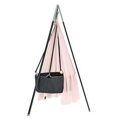 Leander  Babywiege mit Stativ  Grau/Soft Pink
