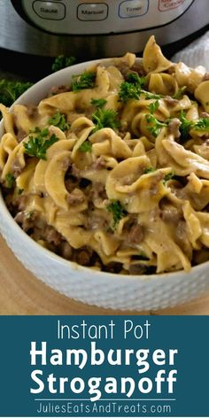 Micki Washington saved to pasta and casseroles in instant Pot Pressure Cooker Hamburger Stroganoff ~ Our Favorite Meal Now in the Instant Pot! Only One Dish to Clean and You Have an Easy Dinner Recipe! Hamburger Stroganoff, Pressure Cooker Spaghetti, Instant Pot Pressure Cooker, Pressure Cooking, Pressure Pot, Pressure Cooker Recipes Beef, Pressure Cooker Beef Stroganoff, Hamburger Helper Recipes, Beef Recipes