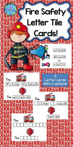 """Have fun making Fire Safety themed vocabulary words using letter tiles! Included are nine letter tile cards. fire truck, fireman, smoke detector, alarm, stop, drop and roll, smoke, firedog, hose Use tiles that you have purchased or made for this literacy center. Just print on cardstock, cut on solid line and laminate! This activity helps to teach the sight word """"the"""" as well as fire safety vocabulary. There are three options for your children depending on their needs."""
