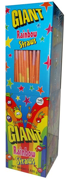 Giant Rainbow Straws, now available to Buy online at The Professors Online Lolly Shop as Sku: 4557 - While you are there, check out our other Confectionery too!