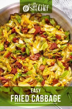 This fried cabbage is delicious and super easy to make with a few ingredients. It comes together in less than 30 minutes! #friedcabbage #cabbage #sidedish Veggie Side Dishes, Vegetable Dishes, Side Dish Recipes, Vegetable Recipes, Fried Cabbage Recipes, Beef Recipes, Cooking Recipes, Easy Recipes, High Protein Vegetarian Recipes