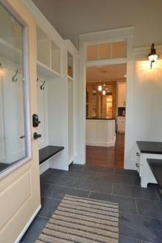 Grey Slate Flooring for Mudroom/Laundry Room. Durable, stylish flooring for a mudroom. Love the transome window and big window in the door. Sol Sombre, Vestibule, Mudroom Laundry Room, Grey Tiles, Slate Tiles, Tile Wood, Transom Windows, Slate Flooring, Up House