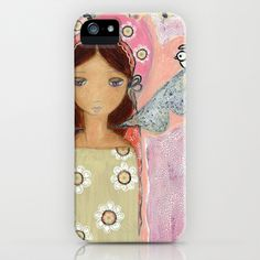 Angel with Little Bird by Flor Larios iPhone & iPod Case by Flor Larios Art - $35.00