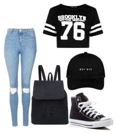 """School outfit 7"" by kaykayheart on Polyvore featuring Topshop, Boohoo and Converse"