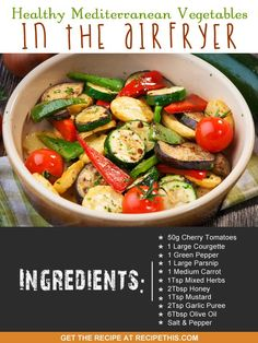 Airfryer Recipes | Healthy Mediterranean Vegetables In The Airfryer from RecipeThis.com