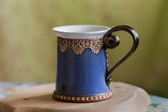 Handmade glazed pottery mug - coffee cup - Blue, white, and brown - Functional pottery