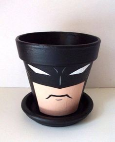 Batman Dark Knight Painted Flower Pot DIY idea for my son to get him interested in nature Clay Pot Projects, Clay Pot Crafts, Batman Dark, Batman The Dark Knight, Painted Flower Pots, Painted Pots, Painted Pebbles, Hand Painted, Paint Flowers