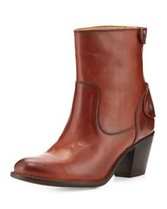Jackie Snap-Zip Ankle Boot, Redwood by Frye at Neiman Marcus.