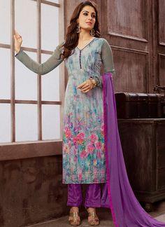 Online shopping site for latest collection of salwar kameez, salwar suit designs, designer salwar kameez. Grab this faux georgette multi colour designer straight suit for festival and party.