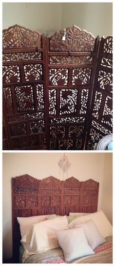 We found these Moroccan hand carved wood screens at a monthly Chicago market. They make the perfect #headboard for our apartment in the trees. #homeimprovement #decor #DIY