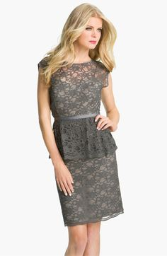 peplum lace overlay sheath dress in grey