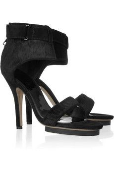 :: acne hit pony calf hair sandals