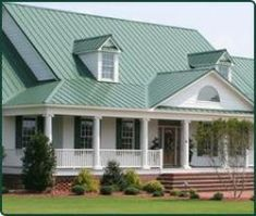 White house with green metal roof google search for the home pinterest green roofs for Exterior paint colors to match green roof