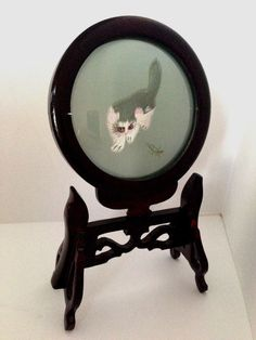 Vintage Chinese Suzhou Silk Crane with Ornate Rosewood Double Sided Cat Display