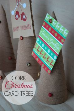 Cork Christmas Card Trees for displaying holiday cards and photos  - a beautiful DIY home decor idea