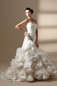 Jasmine Couture: Strapless sweetheart neckline with V back  asymmetrical gathered waist  ruffled skirt