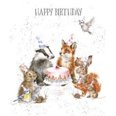 """Wrendale Karte """"Woodland Party"""" Happy Birthday birthday quotes birthday greetings birthday images birthday quotes birthday sister birthday wishes Free Happy Birthday, Happy Birthday Animals, Animal Birthday, Happy Birthday Wishes, Happy Birthday Artist, Happy Birthday Vintage, 21 Birthday, Birthday Pictures, Birthday Images"""