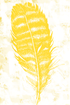 Feather - Yellow - Urban Road. Employing both traditional and digital techniques, the artist has captured the splendour and fragility of feathers in this artwork. It is a testament to both the simplicity of life and the delicateness of the world we live in.