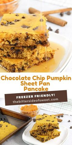Chocolate Chip Pumpkin Sheet Pan Pancakes! A quick and easy way to make boxed pancake mix with the added ingredient of pumpkin!   The Bitter Side of Sweet Fresh Pumpkin Recipes, Fall Recipes, Sweet Recipes, Yummy Recipes, Holiday Recipes, Dessert Recipes, Desserts, Breakfast Bread Recipes, Breakfast Waffles