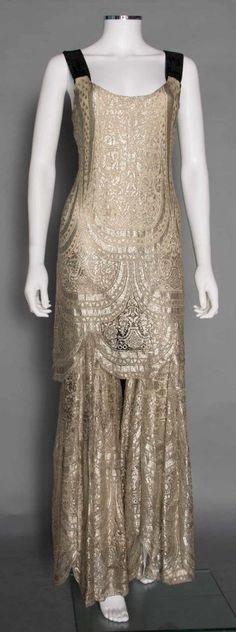 1930s metallic jumpsuit with dark straps. A rare look!