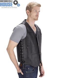VikingCycle Thorfinn 10 pocket Motorcycle Vest for Men - Available only at: http://www.motorcyclehouse.com/vikingcycle-thorfinn-10-pocket-leather-black-motorcycle-vest-for-men.htm - uploaded by #MotorcycleHouse