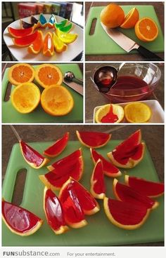 diy orange jello slices ideas craft ideas diy ideas diy crafts decorations crafty food party ideas diy food easy food crafts party food diy fruit diy party -OMFG i'm gonna try this! Orange Jello Shots, Jello Orange Slices, Fruit Jello Shots, Strawberry Jello Shots, Watermelon Jello, Strawberry Parfait, Jello Desserts, Fruit Dessert, Onions