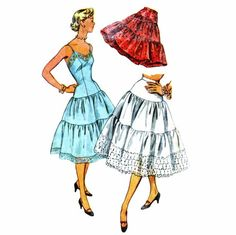 1950s Slip Tiered Petticoat Simplicity 4137 Vintage Sewing Pattern = sew your own!