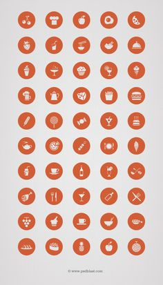 50 Vector Food Icon Set. Useful icons for Food, restaurant related mobile apps
