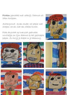 2D-piraten met vetkrijt en verf Pirate Kids, Crafts For Kids, Arts And Crafts, Childrens Wall Art, Book Week, Art School, Little Ones, Finding Yourself, Teaching
