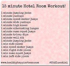 15 minute hotel room workout. good to do when away on tournaments!