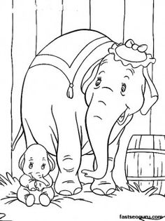 Print out Disney Characters Dumbo with Elephant Matriarch - Printable Coloring Pages For Kids