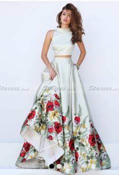 Stacees prom dress/two piece flowers