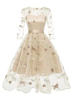 Sleeve Floral Embroidery Dress – Retro Stage - Chic Vintage Dresses and Accessories Elegant Dresses, Pretty Dresses, Beautiful Dresses, Casual Dresses, Fashion Dresses, Sexy Dresses, Summer Dresses, Formal Dresses, Outfit Summer