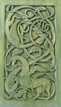 Celebrating my Irish Heritage - Celtic carving - - Holzkunst - Viking Designs, Celtic Designs, Celtic Symbols, Celtic Art, Celtic Dragon, Celtic Knots, Vikings Art, Motif Art Deco, Celtic Patterns