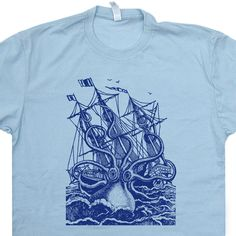 Giant Octopus T Shirt Vintage Soft Vintage T Shirt Sailing T Shirt Sailor T Shirt Retro Nautical Navy T Shirt Anchor T Shirt by Shirtmandude on Etsy https://www.etsy.com/listing/239791294/giant-octopus-t-shirt-vintage-soft