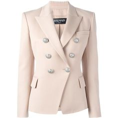 Balmain double breasted blazer ($2,145) found on Polyvore featuring women's fashion, outerwear, jackets, blazers, beige, embellished blazer, balmain jacket, beige blazer, double breasted jacket and balmain blazer