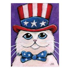 Lisa Marie Art & Illustration: products on Zazzle 4th July Crafts, Patriotic Crafts, Happy 4 Of July, Fourth Of July, Patriotic Pictures, Painting For Kids, Rock Painting, 4th Of July Celebration, Cat Crafts